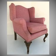 19th Century Carved Cabriole Leg Wing Chair