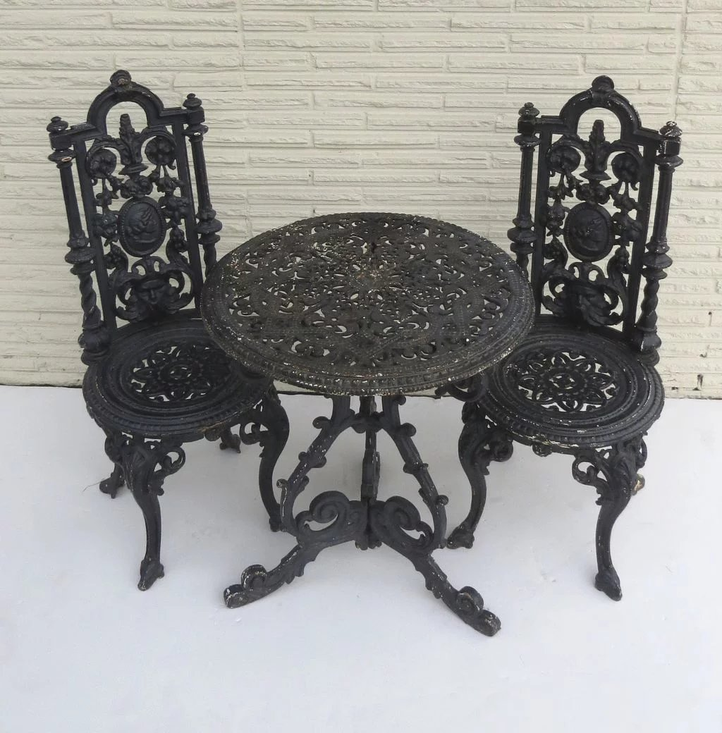 American Cast Iron Garden Table and Two Chairs : Black ...