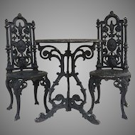American Cast Iron Garden Table and Two Chairs