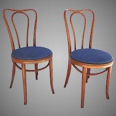 Pair Vintage Bentwood Chairs Impressed Mark c 1900's