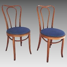 Pair Vintage Bentwood Chairs Impressed Mark c 1900's