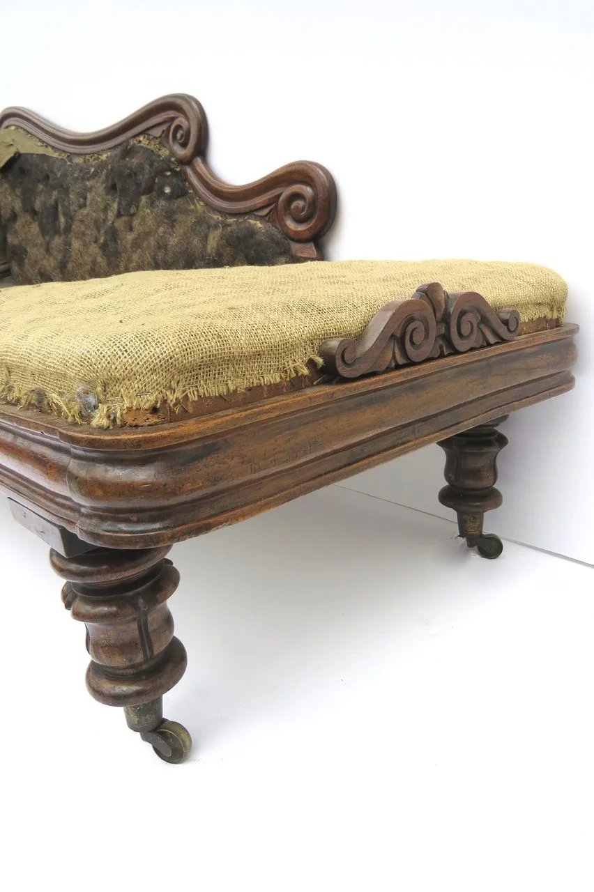 English rosewood chaise longue c 1840 black tulip for Chaise longue in english
