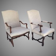 Two French Late 18th Century Walnut Os de Mouton Armchairs Louis XIV