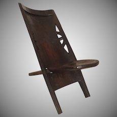 Vintage African Folding Portable Two Part Chair Stool