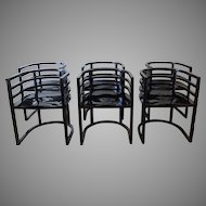Vintage 1980's Modern Black Lacquer Chairs
