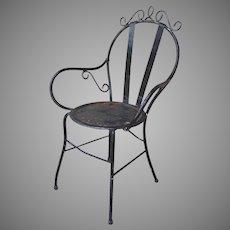 Vintage Wrought Iron Garden Bistro Arm Chair