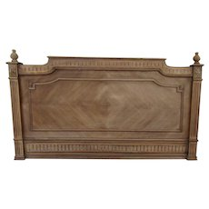 French Walnut Chevron Pattern Headboard Bed