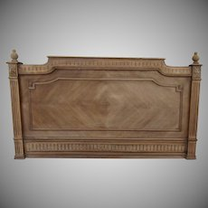 French Walnut Chevron Pattern Headboard Bed