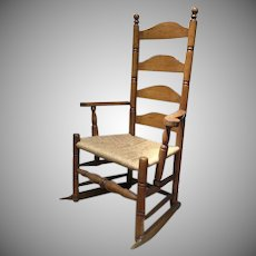 New England American Four Ladder Back Maple Chair Maple 18th Century Rocker