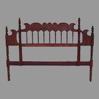 Wonderful Antique Red Painted King Size Headboard Bed