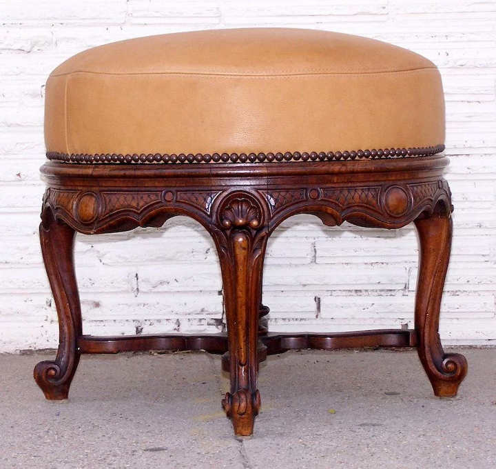Magnificent Round Ottoman With Carved Legs And Leather Upholstered Seat Gmtry Best Dining Table And Chair Ideas Images Gmtryco