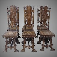 Set of Eight (8) Syrian Damascus Ottoman Inlaid Late 19th Century Chairs 2 Arm Chairs 6 Side Chairs