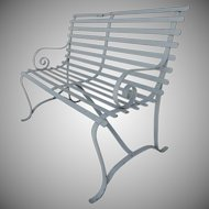 Vintage Small Iron Painted Bench