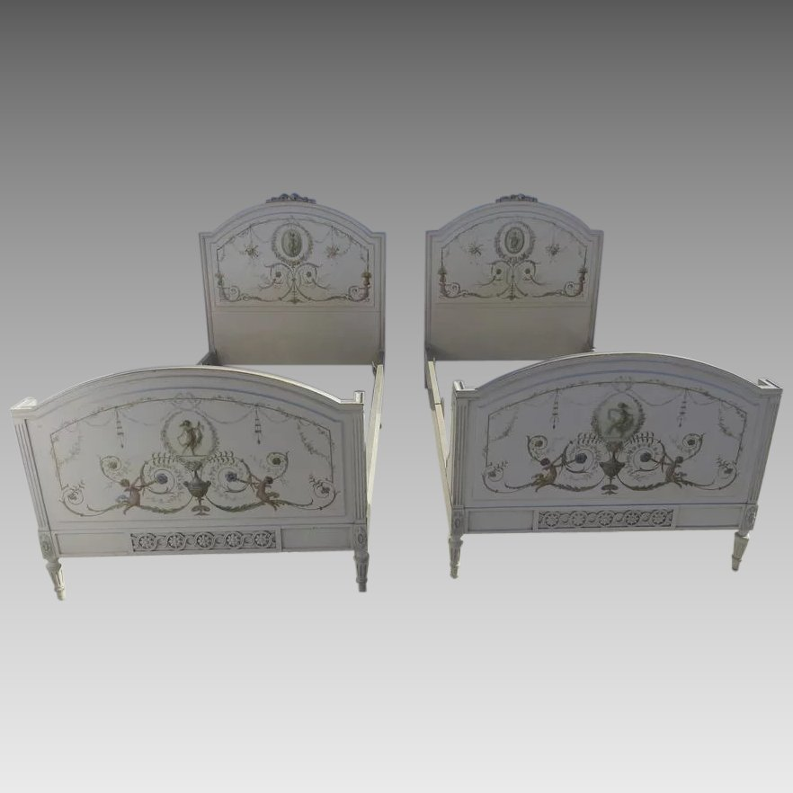 Pair Of Twin Beds Neoclassical French Painted Louis XVI