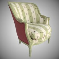 Late 19th Century French Louis XVI Style Gondola Chair Fluted Legs Painted Green