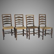 Early 19th Century English Ladder Country Side Chairs Set of Four