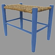 19th Century Oak Splat Stool Painted Blue Country