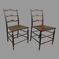 Pair of Country Wavy Back Ladder Back Chairs