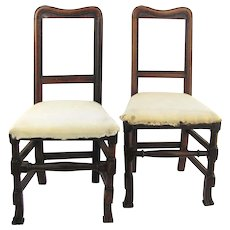 Pair of 19th Century Country Spanish Foot Side Chairs