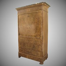 French Walnut Secretaire Abutant Desk Fall Front Fitted Interior C.451