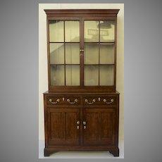 English Oak Two Part Narrow Bookcase Cabinet Square Glazed Panels