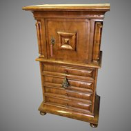 Swiss Circassian Walnut Cupboard Cushion Molded Door Four Drawers Bun Feet Narrow