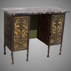 1900's Iron Filagree Desk Dressing Table with Marble Top and Matching Chair