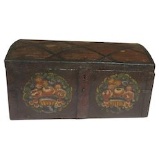 Mid 19th Century Painted Trunk with Iron Strap Hardware