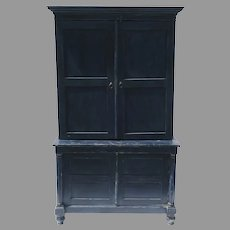 Painted 19th Century Four Door Cabinet Storage Blue