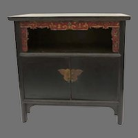 Vintage Chinese Carved Black Painted Two Door Sideboard Cabinet Butterfly Hardware