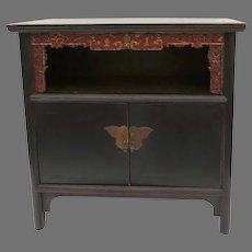Vintage Chinese Carved Black Painted Two Door Sideboard Cabinet Butterfly Hardware Lacquer