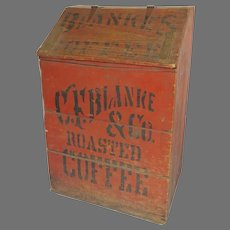 "Country Store Painted Wooden Bin  ""C. F. Blanke & Co. Special Blend Roasted Coffee"""