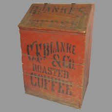 """Country Store Painted Wooden Bin  """"C. F. Blanke & Co. Special Blend Roasted Coffee"""""""