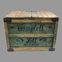 Vintage Painted Stenciled Campbell Sell Baking Co. Denver Crate Box Coffee Table