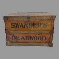 Vintage Painted Advertising  Swander's Deadwood Baking Co. Crate Trunk Box Coffee Table