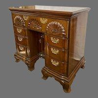 Bench Made Shell Carved Mahogany Kneehole Desk