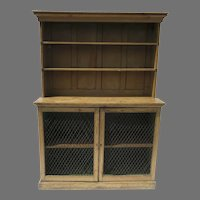 English Country Pine Petite Dresser and Rack with Grill Doors Narrow