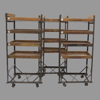 Vintage Industrial Wood and Iron Baker's Rack Shoe Rack Cart Narrow