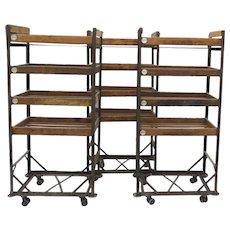 Vintage Industrial Wood and Iron Baker's Rack Shoe Rack Cart Narrow