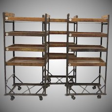 Vintage Industrial Wood and Iron Baker's Rack Shoe Rack Cart