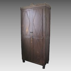 Spanish Colonial Two Door Painted Trustero Cabinet Cupboard Armoire Diamond Panels