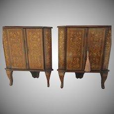 Pair of European Marquetry Inlaid Corner Cabinets c 1870