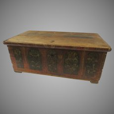 Early European Painted Chest Trunk Table with Arched Painted Panels