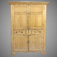 Irish Pine Four Door Two Drawer Cupboard c 1830