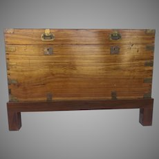 Early 19th Century Camphor Wood Campaign Chest on Stand