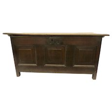 English Oak 18th Century Panel Coffer Trunk Chest