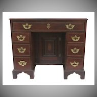 English Edwardian Inlaid Kneehole Desk.