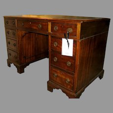 Small English Mahogany Double Pedestal Desk Georgian Style Black Tooled Leather Writing Top