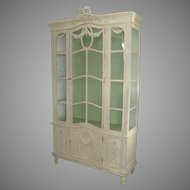 French Carved and Painted Cabinet with Glass Doors Ribbon Motif and Garland