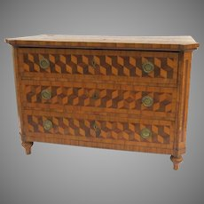 Fabulous Tumbling Block Parquetry Three Drawer Commode Chest of Drawers German Swiss 18th Century